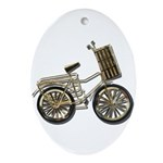 Golden Bicycle with Basket Ornament (Oval)
