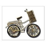 Golden Bicycle with Basket Small Poster
