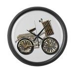 Golden Bicycle with Basket Large Wall Clock