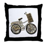 Golden Bicycle with Basket Throw Pillow