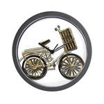 Golden Bicycle with Basket Wall Clock