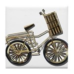 Golden Bicycle with Basket Tile Coaster