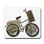 Golden Bicycle with Basket Mousepad