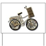 Golden Bicycle with Basket Yard Sign