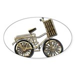 Golden Bicycle with Basket Sticker (Oval)