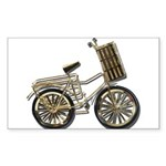 Golden Bicycle with Basket Sticker (Rectangle)