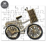 Golden Bicycle with Basket Puzzle