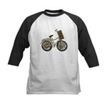 Golden Bicycle with Basket Kids Baseball Jersey
