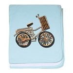 Golden Bicycle with Basket baby blanket