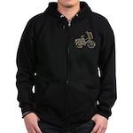 Golden Bicycle with Basket Zip Hoodie (dark)