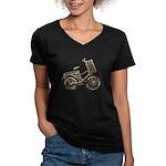 Golden Bicycle with Basket Women's V-Neck Dark T-S