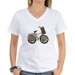 Golden Bicycle with Basket Women's V-Neck T-Shirt