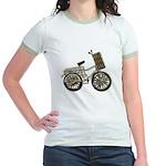 Golden Bicycle with Basket Jr. Ringer T-Shirt