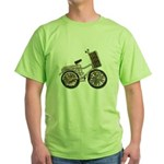 Golden Bicycle with Basket Green T-Shirt