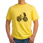 Golden Bicycle with Basket Yellow T-Shirt