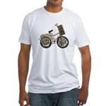 Golden Bicycle with Basket Fitted T-Shirt