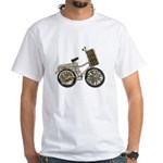 Golden Bicycle with Basket White T-Shirt