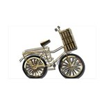 Golden Bicycle with Basket 38.5 x 24.5 Wall Peel