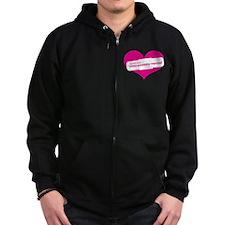 Pink Heart Contemporary Zip Hoodie