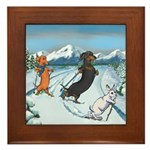 Ski Dachshunds Framed Tile