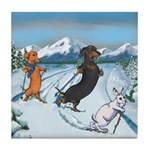 Ski Dachshunds Tile Coaster