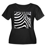 zebra print Women's Plus Size Scoop Neck Dark T-Sh