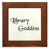 Black Library Goddess Framed Tile