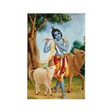 Krishna Plays for the Cows Rectangle Magnet