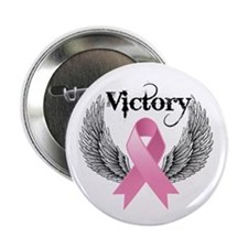 "Victory Wings Breast Cancer 2.25"" Button"