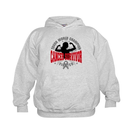 Brain Cancer Tough Survivor Kids Hoodie