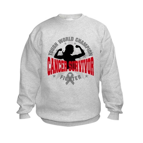 Brain Cancer Tough Survivor Kids Sweatshirt