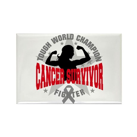 Brain Cancer Tough Survivor Rectangle Magnet