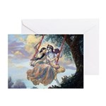 Radha & Krishna on Swing Greeting Cards (Pk of