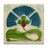 Art Nouveau Fan Flower Tile Coaster