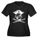 Yarn Pirate Women's Plus Size V-Neck Dark T-Shirt