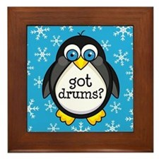 Drums Music Penguin Framed Tile