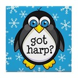 Harp Music Penguin Tile Coaster