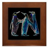 Neon Penguins Framed Tile