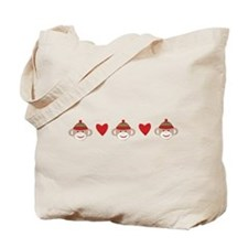 Sock Monkey Hearts Tote Bag