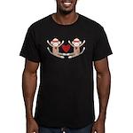 Couples Sock Monkey Men's Fitted T-Shirt (dark)