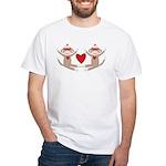 Couples Sock Monkey White T-Shirt