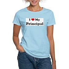 I Love Principal Women's Pink T-Shirt