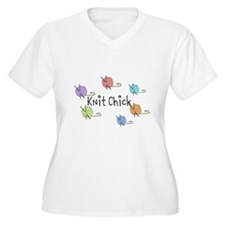 Knit Chick w/yarn around T-Shirt