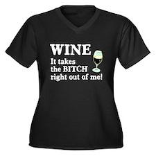 No Bitch Just Wine Women's Plus Size V-Neck Dark T