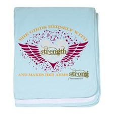 Makes Her Arms Strong baby blanket