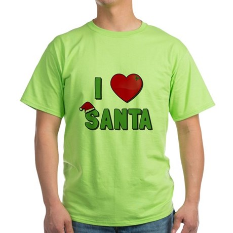 I Love Santa Green T-Shirt
