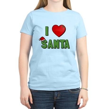 I Love Santa Womens Light T-Shirt