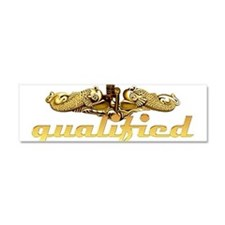 Silver Qualified Dophins Car Magnet 10 x 3