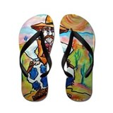 Cowboy, colorful, art, Flip Flops
