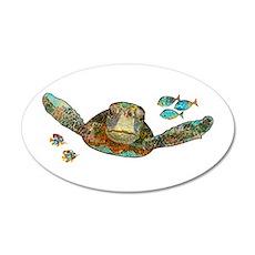 Flying Sea Turtle 38.5 x 24.5 Oval Wall Peel